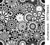 grey and white seamless pattern ... | Shutterstock . vector #597786461