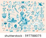 big vector set of hand drawn... | Shutterstock .eps vector #597788075