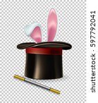 Stock vector vector rabbit ears appear from the magic hat and magic wand isolated on transparent background 597792041