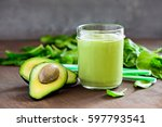 avocado and spinach smoothies... | Shutterstock . vector #597793541