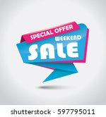 promotional weekend sale banner ... | Shutterstock .eps vector #597795011