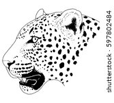 leopard face tattoo  vector... | Shutterstock .eps vector #597802484