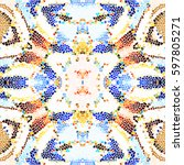 mosaic colorful pattern for... | Shutterstock . vector #597805271