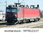 old electric train locomotive... | Shutterstock . vector #597812117
