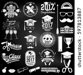 set of vector class of 2017... | Shutterstock .eps vector #597813887