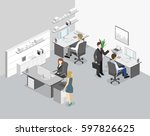 isometric abstract office floor ... | Shutterstock .eps vector #597826625