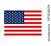 united states flag icon  vector ... | Shutterstock .eps vector #597828029