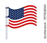 united states flag icon  vector ... | Shutterstock .eps vector #597828065