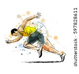 colored hand sketch running man.... | Shutterstock .eps vector #597828611