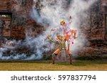 khon thai dancing performers ... | Shutterstock . vector #597837794