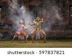 khon thai dancing performers ... | Shutterstock . vector #597837821