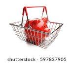 piggy bank in shopping basket... | Shutterstock . vector #597837905