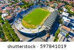 aerial view of city stadium. | Shutterstock . vector #597841019