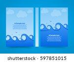flyer sea wave banner book....   Shutterstock .eps vector #597851015