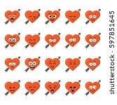 big set funny cartoon heart... | Shutterstock .eps vector #597851645