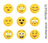set of happy yellow emoticons.... | Shutterstock .eps vector #597851675