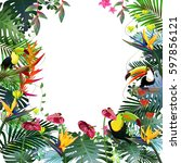 tropical paradise.toucans and... | Shutterstock .eps vector #597856121