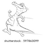 coloring book illustration of a ... | Shutterstock .eps vector #597863099