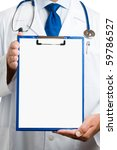 doctor showing blank clipboard... | Shutterstock . vector #59786527