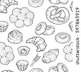 seamless food sketch pattern....   Shutterstock .eps vector #597865919