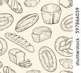 seamless food sketch pattern.... | Shutterstock .eps vector #597866039