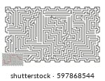 large vector horizontal maze... | Shutterstock .eps vector #597868544