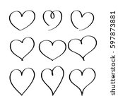hearts drawn by a marker. set... | Shutterstock .eps vector #597873881