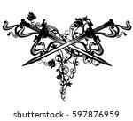 crossed swords among rose... | Shutterstock .eps vector #597876959