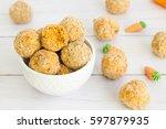 carrot cake energy bites in... | Shutterstock . vector #597879935