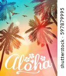 summer beach illustration aloha.... | Shutterstock .eps vector #597879995
