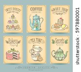card collection pastries and... | Shutterstock .eps vector #597880001