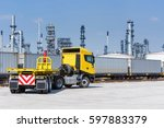 trucks and containers on rail... | Shutterstock . vector #597883379