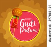 gudi padwa celebration greeting ... | Shutterstock .eps vector #597885434