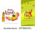 ugadi gudi padwa hardik... | Shutterstock .eps vector #597885491