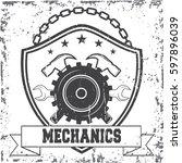 vintage car repair service logo ... | Shutterstock .eps vector #597896039