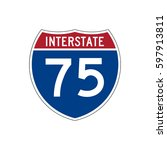 interstate highway 75 road sign  | Shutterstock .eps vector #597913811