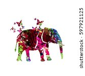 colorful elephant with... | Shutterstock .eps vector #597921125