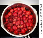 Small photo of Strawberry jam cooking in the stewpot