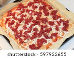 Details Of Raw Pizza On A...