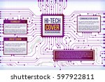 abstract computing circuit... | Shutterstock .eps vector #597922811