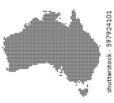 detailed map of australia made... | Shutterstock .eps vector #597924101