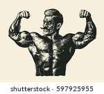 bodybuilder with a mustache.... | Shutterstock .eps vector #597925955