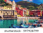beautiful vernazza village with ... | Shutterstock . vector #597928799