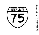 interstate highway 75 road sign ... | Shutterstock .eps vector #597929771