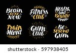 fitness  gym  bodybuilding... | Shutterstock .eps vector #597938405