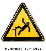 warning of the risk of falling...   Shutterstock . vector #597943511