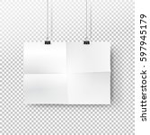 white paper poster mockup with... | Shutterstock .eps vector #597945179