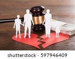 gavel and paper family... | Shutterstock . vector #597946409