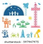 modern technology era. various... | Shutterstock .eps vector #597947975