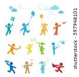 set of pictograms representing... | Shutterstock .eps vector #597948101